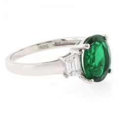 Big Emerald Sterling Silver Ring