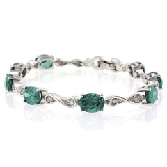 Alexandrite Silver Bracelet Oval Cut Stones Blue Green Color Change