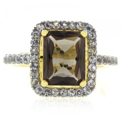 Genuine Emerald Cut Smoked Topaz Sterling Silver Ring