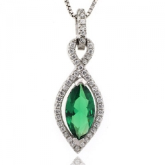 Marquise Cut Emerald Silver Pendant