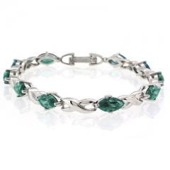Marquise Cut Alexandrite Silver Bracelet
