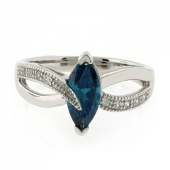 Marquise Cut  Alexandrite Sterling Silver Ring