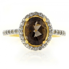 Smoked Topaz Solitaire With Accents Sterling Silver Ring