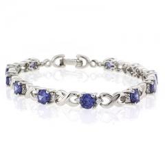 Round Cut Tanzanite Silver Bracelet