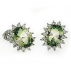 Oval Cut Tourmaline Stud Silver Earrings