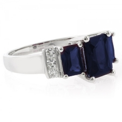 3 Stone Sapphire Sterling Silver Ring