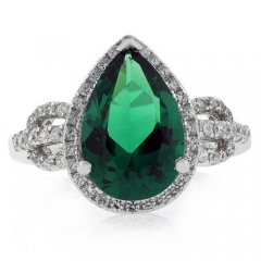 Very Elegant Pear Cut Micro Pave Emerald Ring