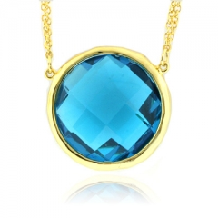 Yellow Gold Plated Silver Blue Topaz Pendant