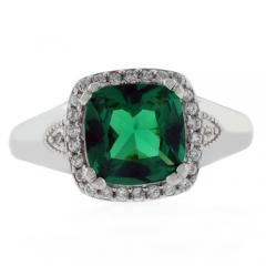 Elegant Cushion Cut Emerald Ring