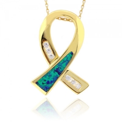 Opal Ribbon Silver Gold Plated Pendant