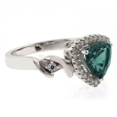 Alexandrite Stone Silver Ring Trillion Cut Color Changing Stone