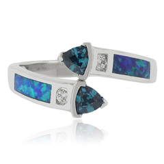 Two Trillion Cut Alexandrite Opal Silver Ring