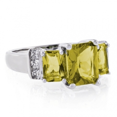 3 Emerald Cut Citrine Sterling Silver Ring