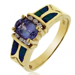 Australian Opal with Tanzanite 14k Solid Gold Ring