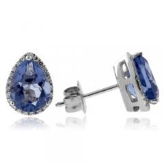 Alexandrite Pear Cut Sterling Silver Earrings