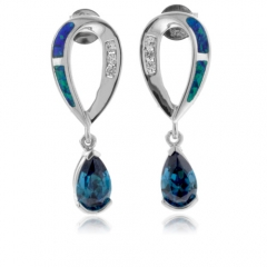 Alexandrite With Australian Opal Silver Earrings