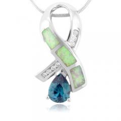Australian Opal And Alexandrite Silver Pendant