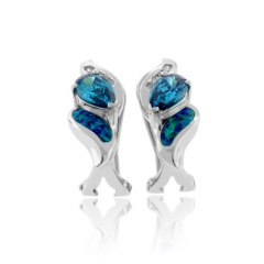Australian Opal with Alexandrite Earrings