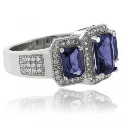 Beautiful 3 Emerald Cut Tanzanite .925 Sterling Silver Ring