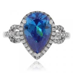 Vintage Blue Topaz Silver Ring
