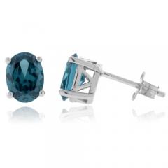 Blue To Green Alexandrite .925 Silver Earrings