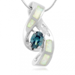 Color Change Alexandrite And Opal Silver Pendant