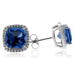 Cushion Cut Blue Topaz Silver Earrings