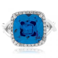 Cushion Cut Blue Topaz Silver Ring