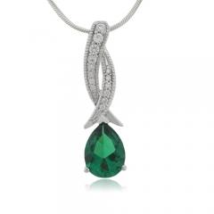 Pear Cut Emerald Sterling Silver Pendant
