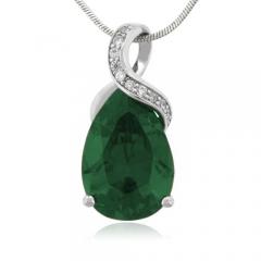 27 mm x 12 Emerald Gemstone Silver Pendant