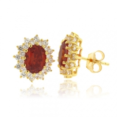 Fire Opal Oval Cut Stone Silver Gold Plated Earrings