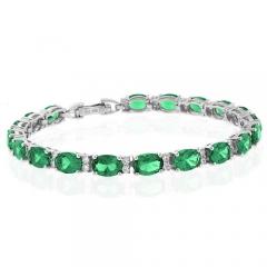 Full Emerald Sterling Silver Bracelet