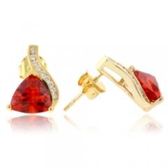 Gold Plated Fire Opal Silver Earrings