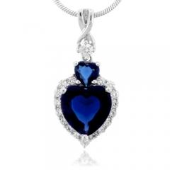 Heart Cut Sapphire Slide Silver Pendant
