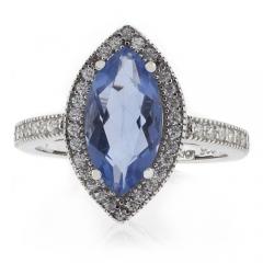 Marquise Cut High Quality Alexandrite Silver Ring