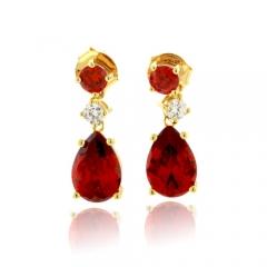 Mexican Fire Opal 14K Gold Plated Silver Earrings