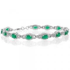 Oval Cut Emerald .925 Sterling Silver Bracelet