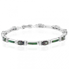 Oval Cut Mystic Topaz And Opal Silver Bracelet