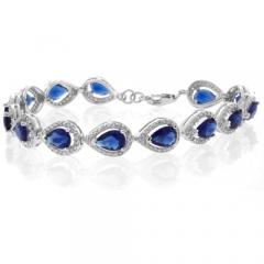 Pear Cut Blue Sapphire Silver Bracelet