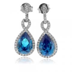 Pear Cut Blue Topaz Silver Earrings