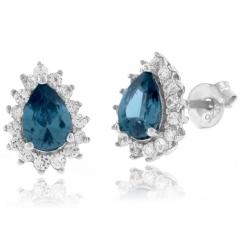 Pear Cut Framed Alexandrite Silver Earrings