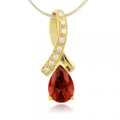 Pear Cut Fire Opal Gold Plated Silver Pendant