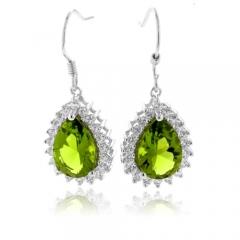 Pear Cut Peridot Dangling Earrings