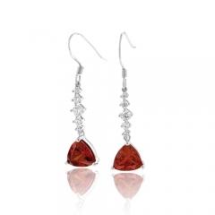 Silver Drop Earrings Trillion Cut Fire Opal