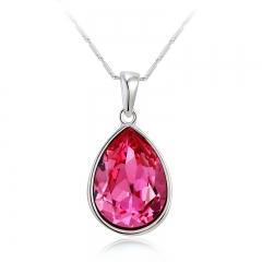 Swarovski Elements Pink Tear 18K White Gold Plated Necklace