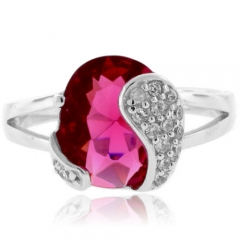 Pink Tourmaline Oval Cut Sterling Silver Ring