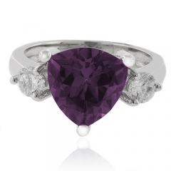 Trillion Cut Color Change Alexandrite .925 Silver Ring