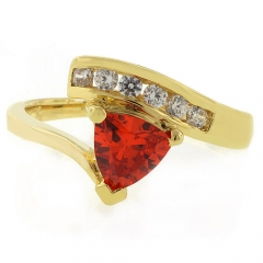 Trillion Cut Fire Opal 14K Gold Plated Silver Ring