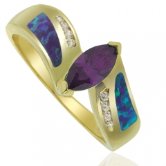 Precious Gold Plated Ring With Marquise Cut Tanzanite Gemstone