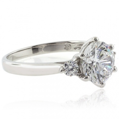 3 Stone Sterling Silver Engagement Ring